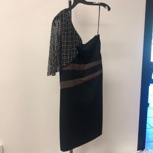 NWT Badgley Mischka One Shoulder Black Brown Dress